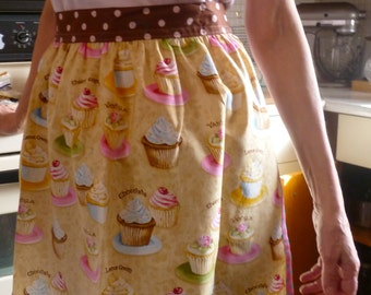 Half Apron Yummy Cupcakes with Polka Dot Waistband and Trim
