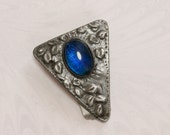 Early Art Deco Cobalt Blue Cabochon,Triangular Pewter Dress Clip with Repousse Leaves,circa 1910-1920s