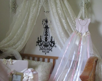 Crib Canopy Bed Crown Teesters Princess Pink Ivory Lace RUFFLES Personalized FREE SaLe Custom made by So Zoey Boutique