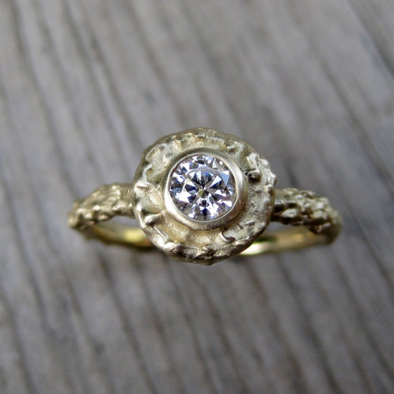 Moissanite Twig Halo Ring: Rose, Yellow, or White Gold; Forever Brilliant ™