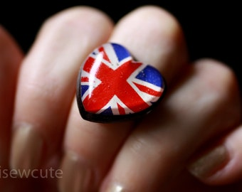 Jewelry, Union Jack Flag, Heart Shape Resin Glitter Ring, United Kingdom Flag Ring, Red White Blue, Patriotic UK, handmade by isewcute