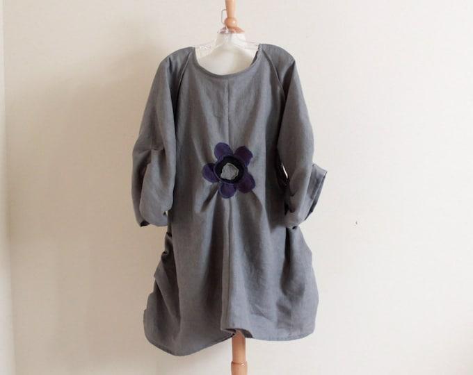 custom plus size flower fold gray linen dress / handmade linen tunic dress / plus size linen dress / gray linen dress