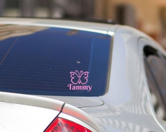 "Butterfly Monogram Vinyl Vehicle window Decal Sticker, Butterfly gift, Custom name Decals, 4"" X 4"" decal"