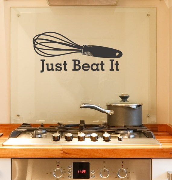 Just beat it vinyl wall decal funny kitchen by householdwords - Funny kitchen wall decals ...