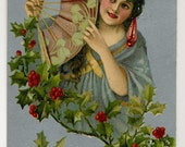 Christmas Postcard - Pretty Lady Holds Fan - 1906