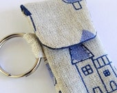 key ring pouch lip balm usb holder blue houses on linen