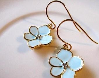 Blue Lotus Blossom Earrings, Petite Flower Dangles, Jewelry Set, Bridesmaid Earrings, Gardendiva