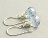 Blue Quartz Drop Earrings, Sterling Silver Earrings