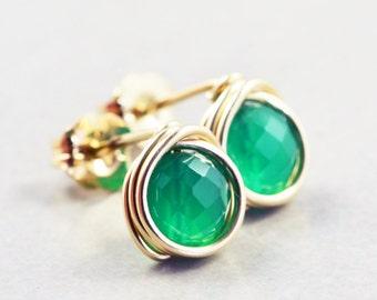 Green Onyx Studs, Post Earrings, Emerald Green Studs, Green Posts