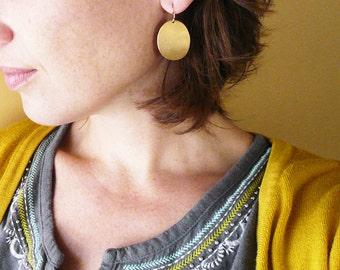 Gold Oval Earrings - Simple Geometric Earrings, Big Vintage Brass Oval Dome Earrings