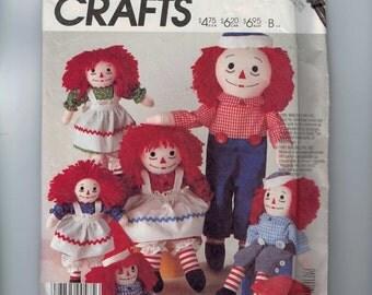 1980s Vintage Sewing Pattern McCalls 2447 Raggey Ann Andy Rag Doll Boy Girl Retro 10 15 20 25 Inch UNCUT 80s 1986  99