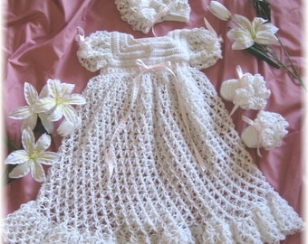 Baby Christening Gown, Bonnet and Booties Crochet Pattern-46