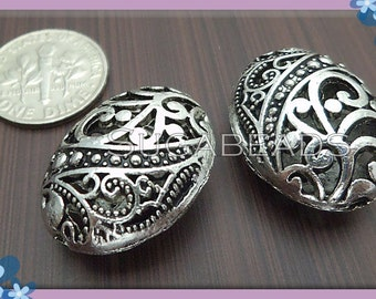 5 Big Antiqued Silver Filigree Hollow Oval Beads 22mm