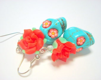 Red and Turquoise Day of the Dead Roses and Sugar Skull Earrings