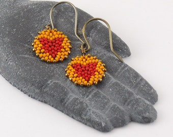 Beadwoven Heart Mandala Earrings ( red / orange ) - - - niobium (hypoallergenic) earrings/ Petite/ Colorful/ Holiday Gift for Her/ Unique