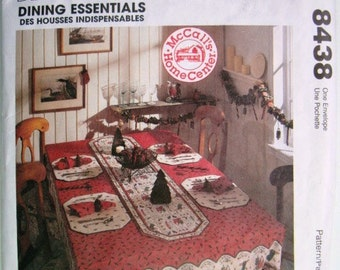 """McCalls 8438 Home Decorating Dining Essentials Pattern UNCUT Tablecloth, Table Runner, Seat Cover, Napkins """"Des Housses Indispensables"""""""
