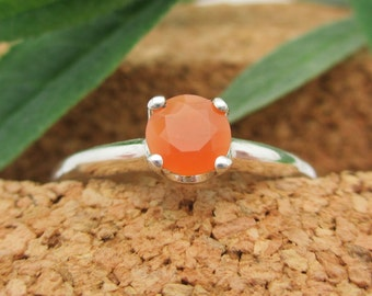 Orange Opal Ring in Sterling Silver, Round Faceted Gemstone - Free Gift Wrapping