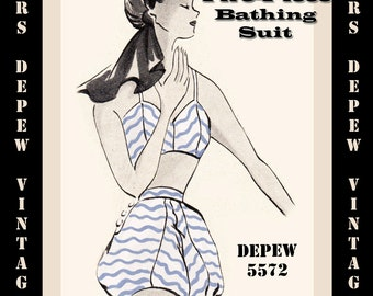 Vintage Sewing Pattern 1950's Two-Piece Bathing Suit in Any Size - PLUS Size Included - Depew 5572 -INSTANT DOWNLOAD-