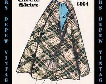 Vintage Sewing Pattern 1950's Circle Skirt in Any Size - PLUS Size Included - Depew 6064 -INSTANT DOWNLOAD-