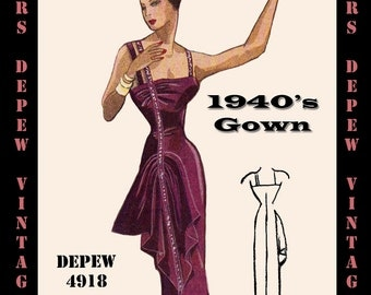 Vintage Sewing Pattern 1940's Evening Gown in Any Size - PLUS Size Included - Depew 4918 -INSTANT DOWNLOAD-