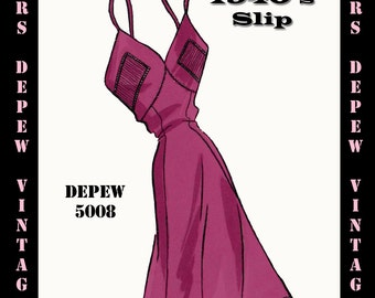 Vintage Sewing Pattern 1940's Slip in Any Size- PLUS Size Included- Depew 5008 -INSTANT DOWNLOAD-
