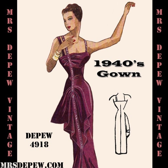1940s Dressing Gown: Vintage Sewing Pattern 1940's Evening Gown In Any Size