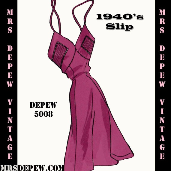 1940s Sewing Patterns – Dresses, Overalls, Lingerie etc 1940s Slip in Any Size- PLUS Size Included- Depew 5008 -INSTANT DOWNLOAD- $7.50 AT vintagedancer.com