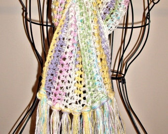 Lightweight Pastel Hand Crocheted Fashion Scarf with Open Weave on Clearance