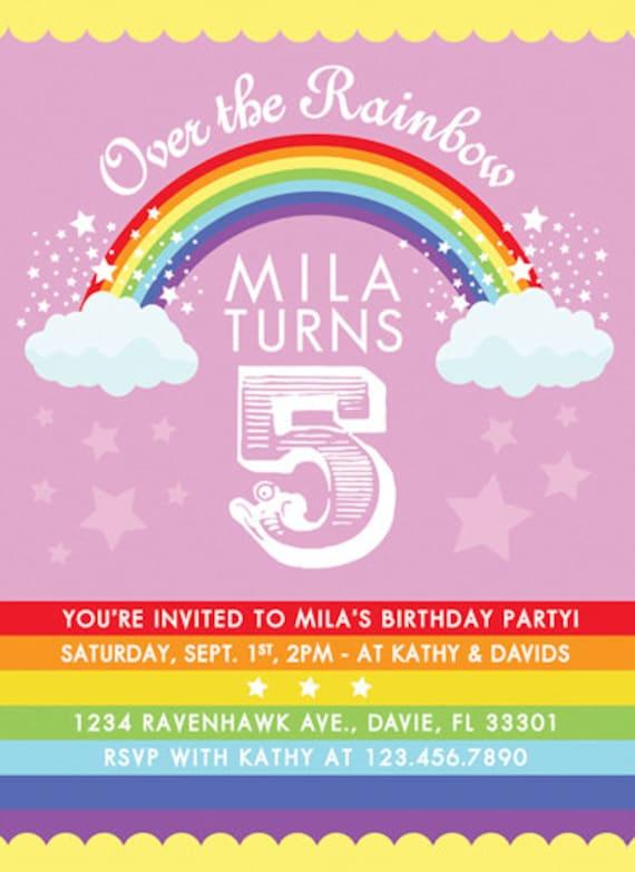 Rainbow Birthday Party Invitation Somewhere Over the