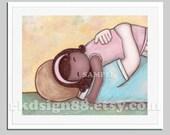 Adoption gift, girl nursery art print, girl room art, Africa adoption art, fathers day, kids art, blonde African American - My Hero 8 x 10
