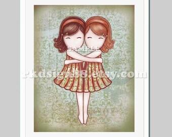 Whimsical nursery art print, baby girl nursery wall art, children decor, 8x10 girl room decor, twin, brown red, My Lovely Best Friend
