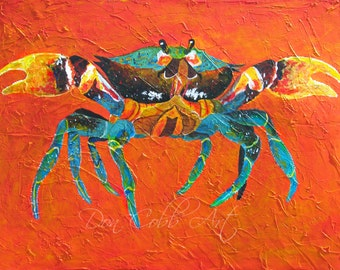 """Original Painting Maryland Seafood Blue Crab Art """"Angry Crab"""" 18x24x1.5"""" Acrylic On Gallery Wrap Canvas"""