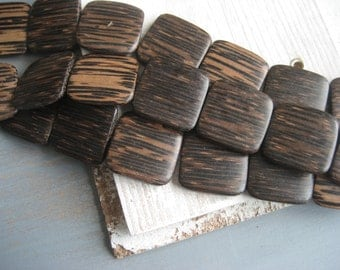 patikan wood beads, old palmwood beads, large flat square, chunky natural wood beads from philippines - 30 mm / 6  pcs   - 3aph237