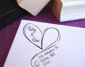 Swirly Heart Custom Address Stamp, Wedding Stamp, Custom Heart Stamp, Wedding Address Stamp, Wooden Stamp, Self Inking Stamp, Rubber Stamp