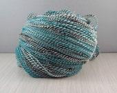 Handspun yarn turquoise,white and brown  2 ply, 330 yards, merrino DK-Sport  Weight