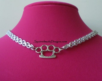 Brass Knuckles   Mini Silver Tone       Duster Necklace