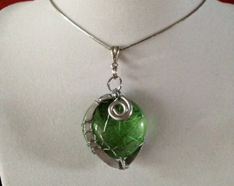 Demeter's Pendant - Green Glass Silver Wire-Wrapped