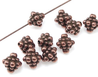 Antique Copper Beads Copper Bali Beads TierraCast PAMADA Beads 8mm Beaded Bicone Shape Jewelry Beads for Jewelry Making  (PS121)