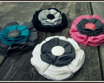 One Fabric Flower Brooch ((Choose Your Color Combination))
