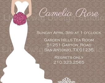 Elegant Bridal Wedding Shower Digital  Invitation 5x7 DIY You print file