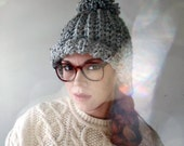 SALE! Super Chunky Pom Pom Hat. Heather Gray.