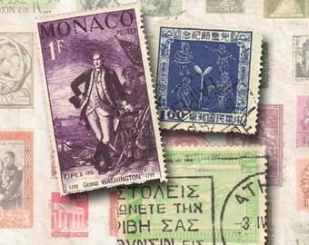 Digital Collage Sheet Vintage International Stamps Instant Download SL101
