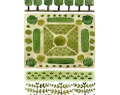 Parterre Garden No. 3 Print, watercolor reproduction, giclee print, garden plan, english garden illustration, botanicals