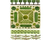 Parterre Garden No. 3 Print, watercolor reproduction, giclee print, garden plan, english garden illustration, botanicals