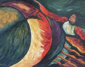 Moon Dancer large original painting in frame Sofa Size