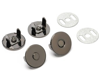 30 Sets Thin Magnetic Purse Snaps - Closures 18mm Black Nickel - Free Shipping (MAGNET SNAP MAG-130)