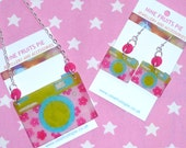 Say Cheese - 70's vintage style, pink, green and blue hand drawn shrink plastic camera set (earrings and necklace)