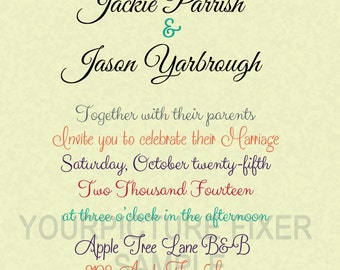 Colorful Leaves Wedding Invitations