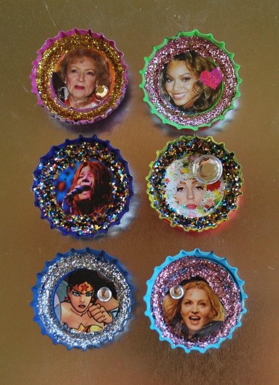 The WONDER WOMEN  Collection Bottlecap Magnet Art Bette White Beyonce Janice Joplin Gaga Madonna