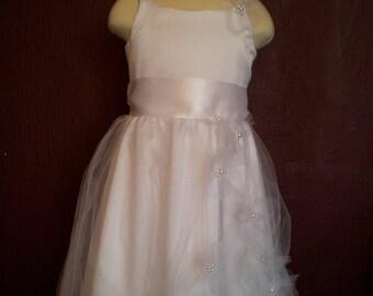 Natalie Flower Girl Dress, White or Ivory Tulle and Satin Wedding Flower Girl Dress